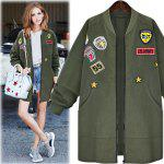 2016 New Arrival Autumn Womens   Bomber Jecket Plus Size 5XL 3D Print Zipper Fashion Patched Badges Long Baseball  Outwear Coats - ARMY GREEN