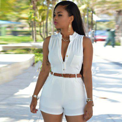 Buy WHITE 2016 new arrival summer fashion high collar design woman elegant OL style double pockets jumpsuits with belt for $11.78 in GearBest store