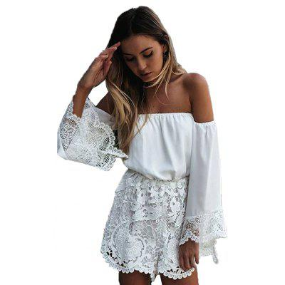 Buy WHITE 2016 new arrival sexy slash lace-stitching woman long sleeve jumpsuit for $12.18 in GearBest store