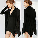 2016 new arrival casual loose irregular woman long sleeve T-shirt - BLACK