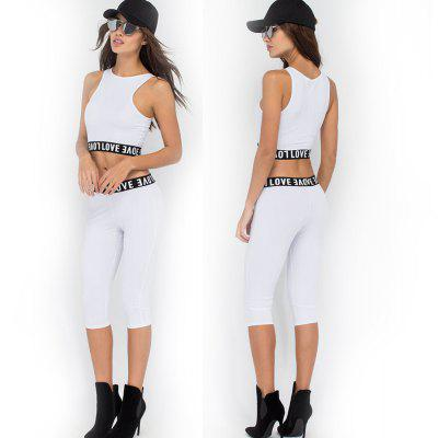 Buy WHITE L 2016 sport fashion letter lace crop top woman closed-fitting pant two pieces set for $12.46 in GearBest store
