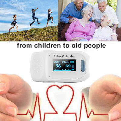 FLOUREON Fingertip Pulse Oximeter Blood Oxygen Saturation Pulse Rate Synchronous Waveform OLED Monitor with Little Bag and Lanyard