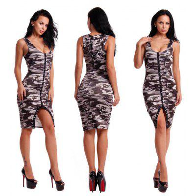 2016 new sexy fashion deep-V-neck camo printing hooded woman button fly slit dress