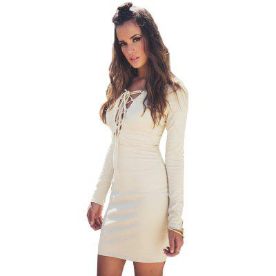 Buy LIGHT BEIGE 2016 new arrival sexy chest strap woman closed-fitting dress for $10.17 in GearBest store