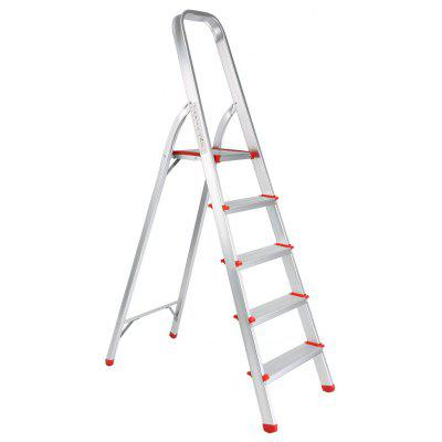 (FOLD STEP LADDER 5) Finether Portable Folding Aluminum 5-Step Ladder with Standing Platform, Lightweight Convenient Space-Saving for Household Office Use, EN131 Certified, 330 lbs Capacity