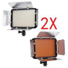 2 x Excelvan PT-504s 504pcs LED Video Light 5600K OnCamera Light Panel Photographic Lighting Touching Flat with Detachable Barn doors for Nikon Canon DSLR DV Camcorder with DC Adapter & Carrying Case