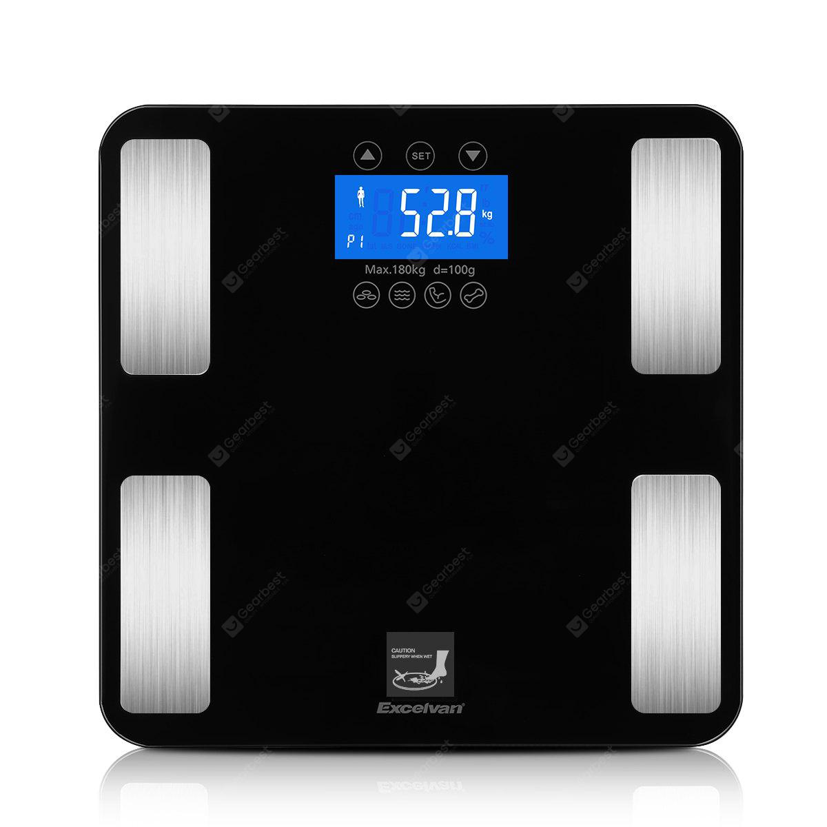 . Excelvan Touch 400 lb Digital Body Fat Scale with Tempered Glass Platform   Smart Step on Technology  10 User Recognition  Measures up to 7 Parameters