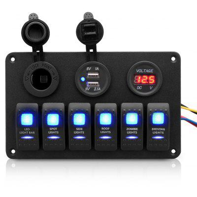 6 Gang LED Rocker Switch Panel Dual USB Charger