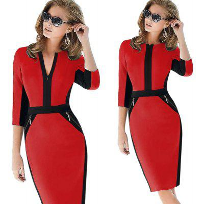 Buy RED M Kenancy Elegant Patchwork Half Sleeve Stretch Dress Tunic Business Casual Office Work Dress Slim Bodycon Sheath Pencil Dresses for $17.88 in GearBest store