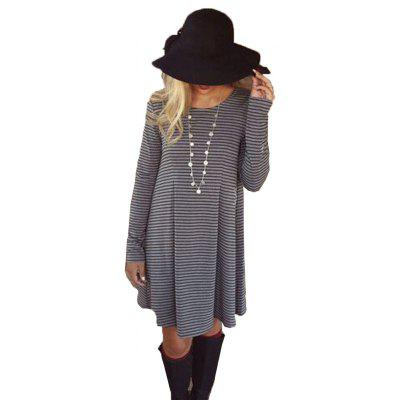 Buy STRIPES L 2016 autumn winter new round neck strap woman casual long sleeve dress for $15.67 in GearBest store