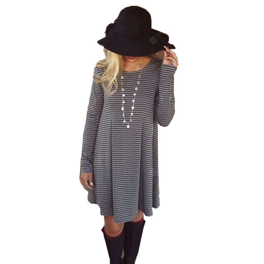 STRIPES L 2016 autumn winter new round neck strap woman casual long sleeve dress