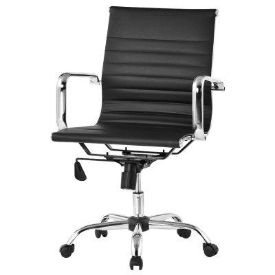 Uk Ccb049 Langria Mid Back Ribbed Pu Leather Swivel Executive Office Chair With