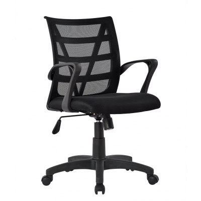 (US MCB060 BLACK) LANGRIA Mid-Back Swivel Mesh Task Office Chair with Back Support and Knee-Tilt, Black