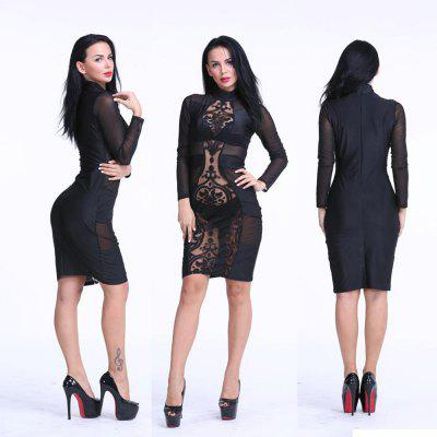 Buy BLACK 2016 new arrival sexy high collar hollow out lace-stitching woman closed-fitting dress for $14.38 in GearBest store