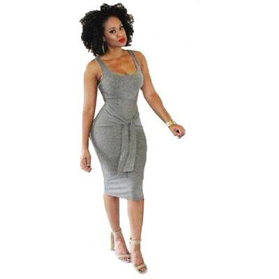 Buy GRAY L 2016 new fashion style sexy deep-U-neck sleeveless woman closed-fitting bandage dress for $11.80 in GearBest store
