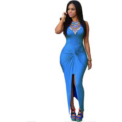 2016 new arrival round neck sleeveless woman cross slit closed-fitting dress