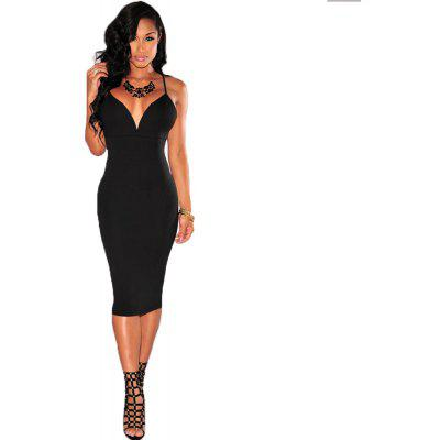 Buy BLACK XL 2016 summer autumn new style fashion sexy deep-V-neck backless woman closed-fitting braces dress for $11.15 in GearBest store