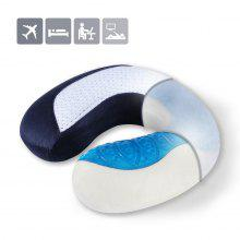 (TRAVEL PIL GEL MF) LANGRIA U-Shaped Memory Foam Travel Neck Pillow with Cooling Gel Technology for Airplane, Car, Train, Home, Office Napping, Reading and Leisure