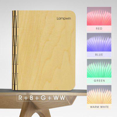 Lampwin® Wooden Foldable LED Nightlight Booklight & LED Folding Book Lamp, Electromagnetic Induction Technology, 2500mAh Lithium Batteries Up To 8 Hours Usage,Magnetic,USB Rechargeable,4 Color