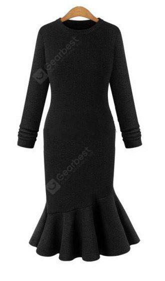BLACK L Elegant Sweater Dress 2016 Fall New Arrival Womens Sexy Dress Long Sleeve Thicken Party Slim Fit Package Hip Knitted Fishtail Sweaters Dresses For Ladies