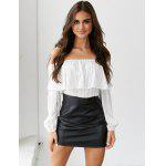Buy Casual Tops Sexy Women Shoulder Ruffles Slash Neck Long Sleeve Blouse Party Daily Wear Mini Simple WHITE