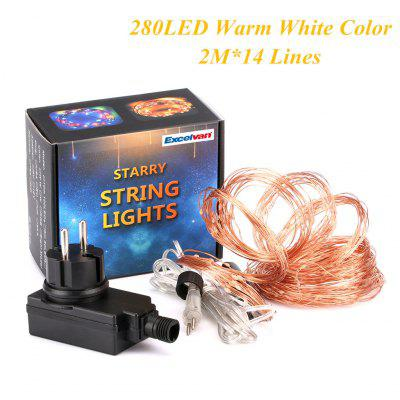Excelvan®  280 LED Copper Wire Branch String Lights, 20 LED x 14 String Starry Lights Copper Wire, Warm White Color, Flexible Silver Wire Light LED Starry Timbo Lights Fairy Lights Tiny Decorative Lig