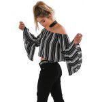 Buy Casual Tops Sexy Women Shoulder Slash Neck Long Trumpet Sleeve Blouse Party Daily Wear Midriff Simple BLACK