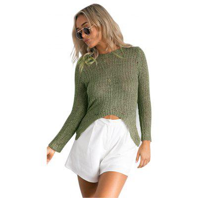 Fashion Autumn Sweater Women Irregular Hem Slit Loose Hedging Long-Sleeved Sweater Sexy Midriffs Sweater