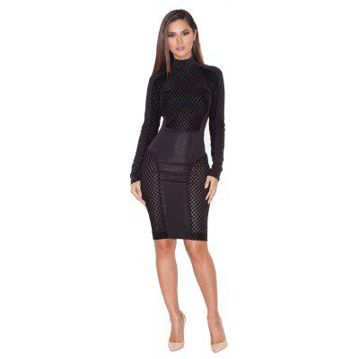 2016 new fashion sexy high collar hollow out stitching woman closed-fitting dress