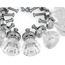 12 X Clear Diamond Crystal Glass Door Knobs Drawer Cabinet