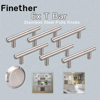 Finether 6 X T Bar Stainless Steel Kitchen Cabinet/Cupboard Door Handles Drawer Pulls Knobs 12X64X100MM