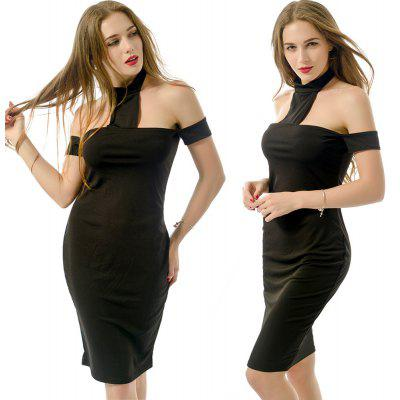 Womens Elegant Sexy Vintage Retro Pinup Tunic Wear to Club  Office Business Casual Party Pencil Sheath Bodycon Off The Shoulder Dress