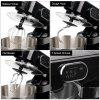 Excelvan 1000W Electric Food Stand Mixer with 5.5L Stainless Steel Bowl, Splash Guard and 3 Mixing Attachments-Beater, Dough Hook & Balloon Whisk, Black