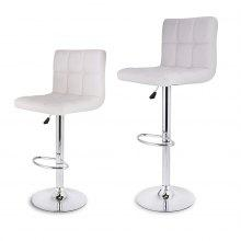 (DE Quilted Faux Leather Bar Stools White) LANGRIA Set of 2 Gas Lift Height Adjustable Swivel Quilted Faux Leather Bar Stools Chairs with Chromed Base and Footrest for Bar Counter Office Home, White