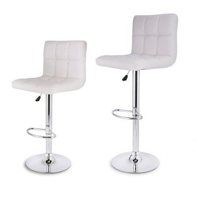 (DE Quilted Faux Leather Bar Stools White) LANGRIA Set Of 2 Gas Lift Height  Adjustable Swivel Quilted Faux Leather Bar Stools Chairs With Chromed Base  And ...