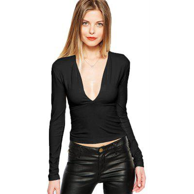 Buy BLACK 2016 new sexy style deep-V-neck short woman closed-fitting T-shirt for $8.90 in GearBest store