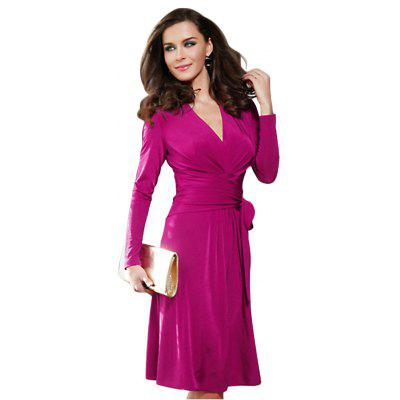 2016 New Fashion Hot Sale Sexy Deep-V-neck Autumn Winter long Sleeve Casual Work Charm bandage Dresses