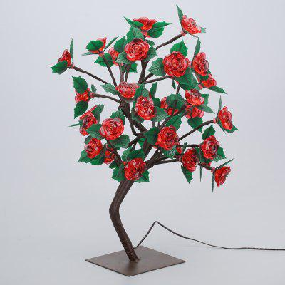 (STRING LIGHT BATTERY ROSE TREE GREENLEAVES RED) Finether 17.72 inches 45 cm High Battery Powered Rose Tree Table Lamp with 36 Warm White LEDs and Adjustable Branches for Indoor Christmas Party Holida