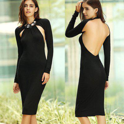 Buy BLACK Women OL Elegant Dress Neckline High Quality Sexy Hollow Out Women Party Sexy Bodycon Hips Dresses Backless Pencil Sheath Wholesale Plus Size for $12.72 in GearBest store