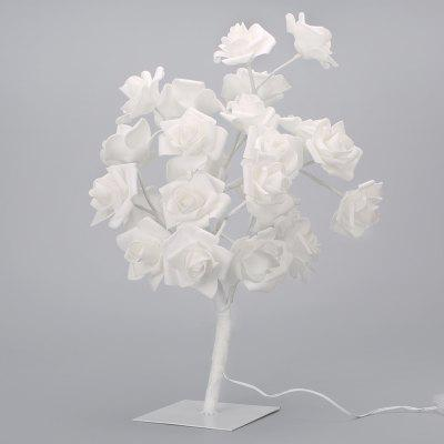 Finether 1.47 ft 0.45 m Battery/USB Powered Rose Flower Tree Table Lamp Nightlight with Adjustable Branches USB Cable for Indoor Christmas Party Holiday Festival Celebration Nursery Home Decor, White
