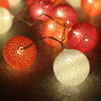 (STRING LIGHT BATTERY BALL COTTON PINK&ROSE&WHITE) Finether 7.22 ft 2.2 m Battery Powered 20 LED Cotton Ball Globe String Lights with Warm White Glow for Indoor Christmas Party Wedding Holiday Festiva
