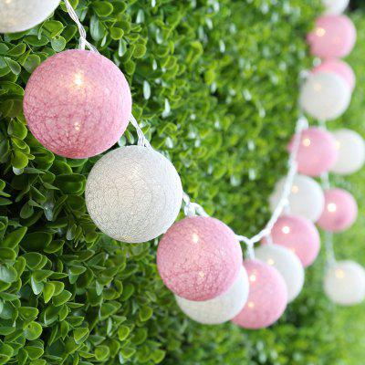 (STRING LIGHT BATTERY BALL COTTON PINK&WHITE) Finether 7.22 ft 2.2 m Battery Powered 20 LED Cotton Ball Globe String Lights with Warm White Glow for Indoor Christmas Party Wedding Holiday Festival Cel