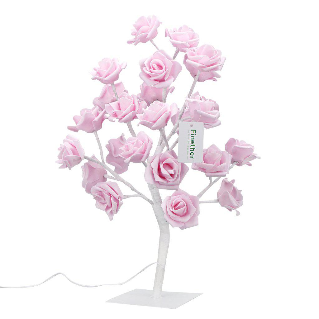 Finether 1.47 ft 0.45 m Battery/USB Powered Rose Flower Tree Table Lamp Nightlight with Adjustable Branches USB Cable for Indoor Christmas Party Holiday Festival Celebration Nursery Home Decor, Pink