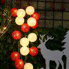 (STRING LIGHT BATTERY BALL COTTON RED&WHITE) Finether 7.22 ft 2.2 m Battery Powered 20 LED Cotton Ball Globe String Lights with Warm White Glow for Indoor Christmas Party Holiday Wedding Festival