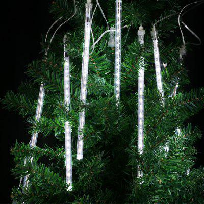 (EU STRING LIGHT TUBE WHITE) Finether 13.1 ft 8 Tube 144 LED Meteor Shower Rain Snowfall Plug-In String Lights for Holiday Christmas Halloween Party Indoor Outdoor Decoration Commercial Use, White Glo