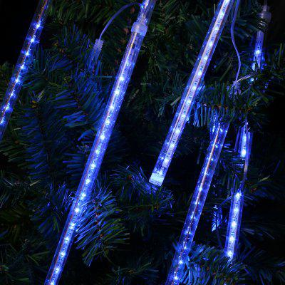 Finether 13.1 ft 8 Tube 144 LED Meteor Shower Rain Snowfall Plug-In String Lights for Holiday Christmas Halloween Party Indoor Outdoor Decoration Commercial Use, Blue Glow