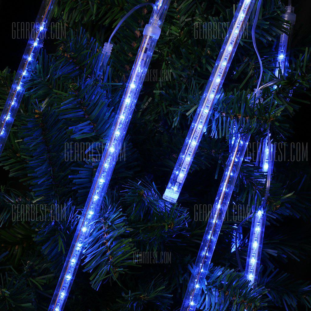 (EU STRING LIGHT TUBE BLUE) Finether 13.1 ft 8 Tube 144 LED Meteor Shower Rain Snowfall Plug-In String Lights for Holiday Christmas Halloween Party Indoor Outdoor Decoration Commercial Use, Blue Glow