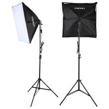 Craphy  FXL-85 700W Photography Continuous Softbox Light Lighting Kit Photo Equipment Soft Studio Light Softbox 50*70cm + Light Stand+ Portable Bag with EU Plug