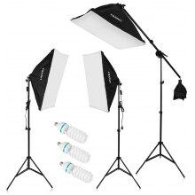 "Craphy  SHLP-0135 2000W Photo Studio LED Continuous Lighting Kit- 20""x25"" Auto Pop-Up Softbox+ 80"" Light Stand + 135w LED Lamp with EU Plug"