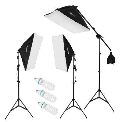 """Craphy 2000W Photo Studio LED Continuous Lighting Kit- 20""""x25"""" Auto Pop-Up Softbox+ 80"""" Light Stand + 135w LED Lamp with EU Plug"""